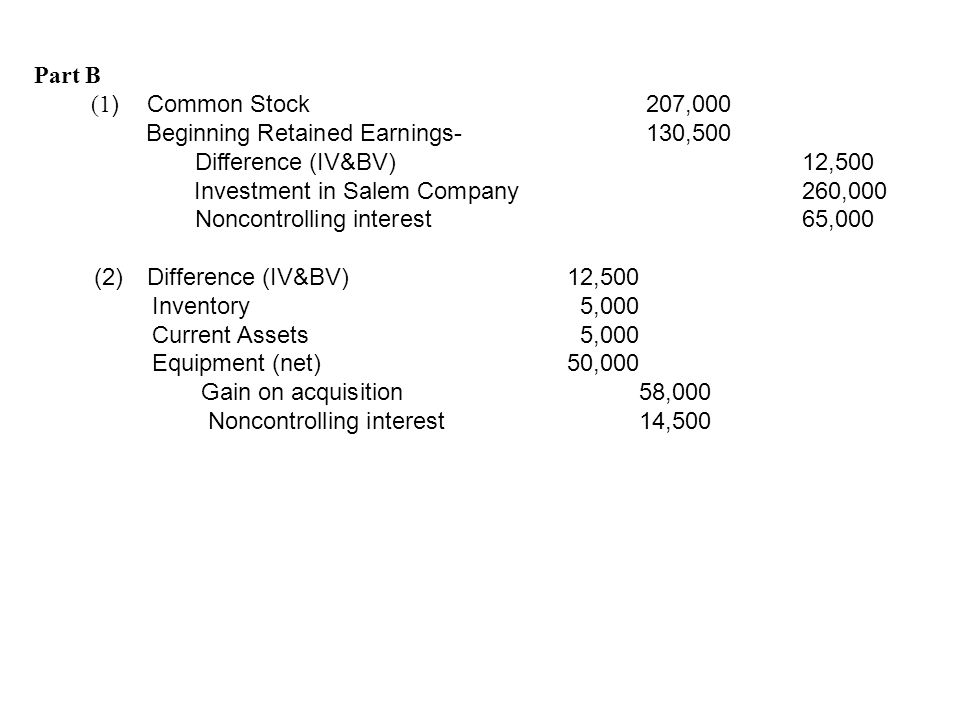 Part B (1) Common Stock 207,000. Beginning Retained Earnings- 130,500. Difference (IV&BV) 12,500.