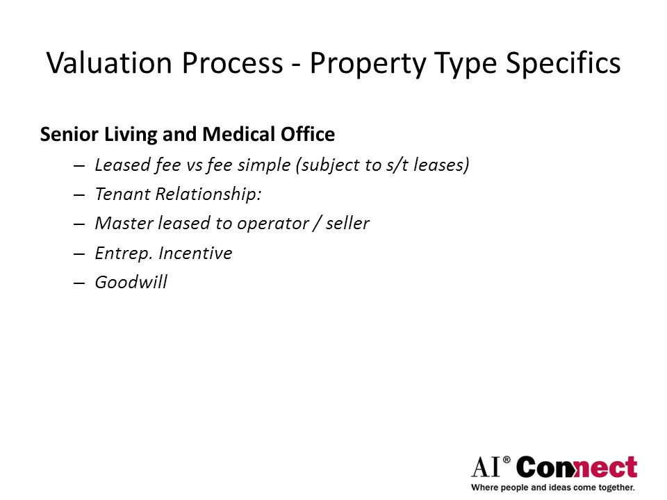 Valuation Process - Property Type Specifics