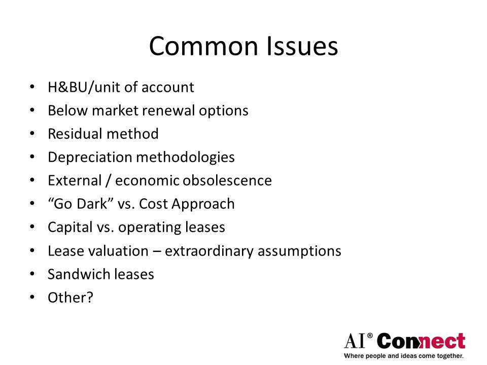 Common Issues H&BU/unit of account Below market renewal options