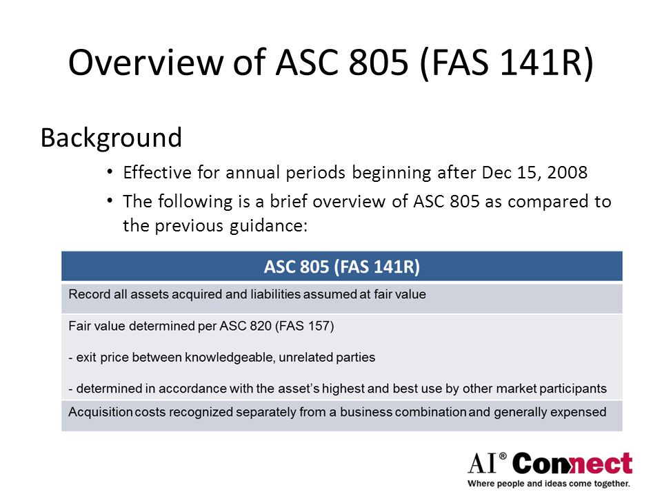 Overview of ASC 805 (FAS 141R) Background