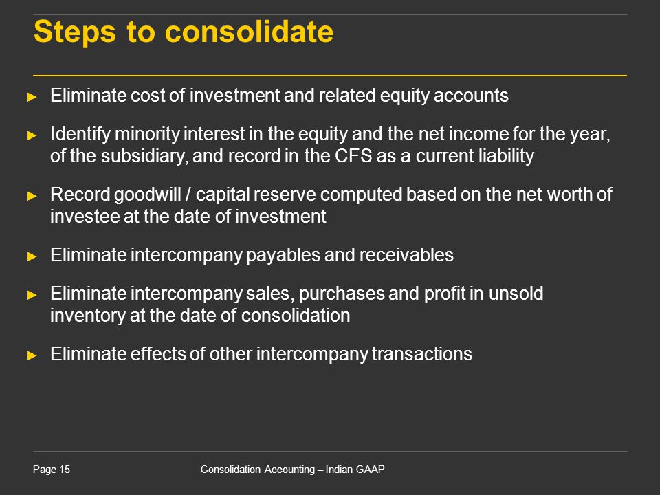 15 April 2017 Steps to consolidate. Eliminate cost of investment and related equity accounts.