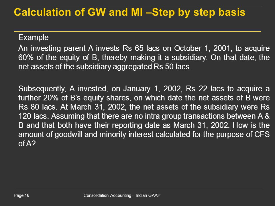 Calculation of GW and MI –Step by step basis