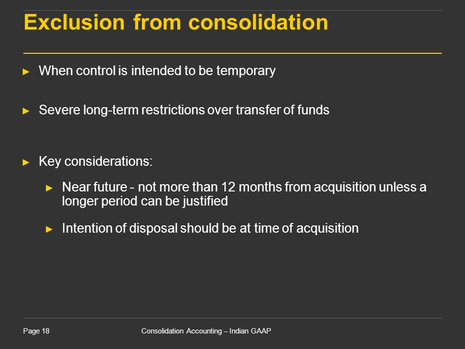 Exclusion from consolidation