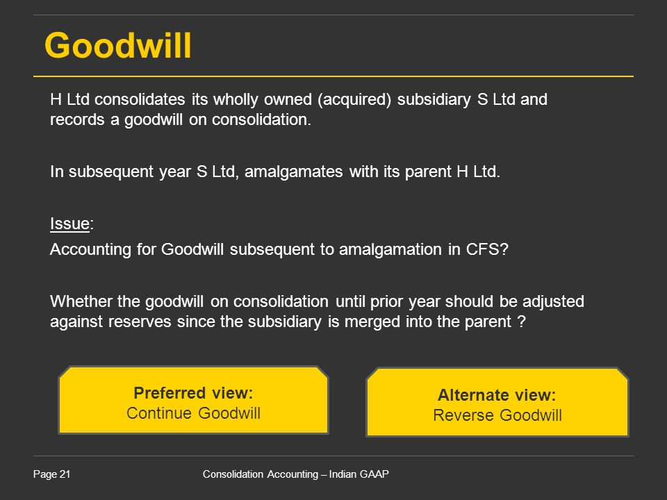 Goodwill H Ltd consolidates its wholly owned (acquired) subsidiary S Ltd and records a goodwill on consolidation.