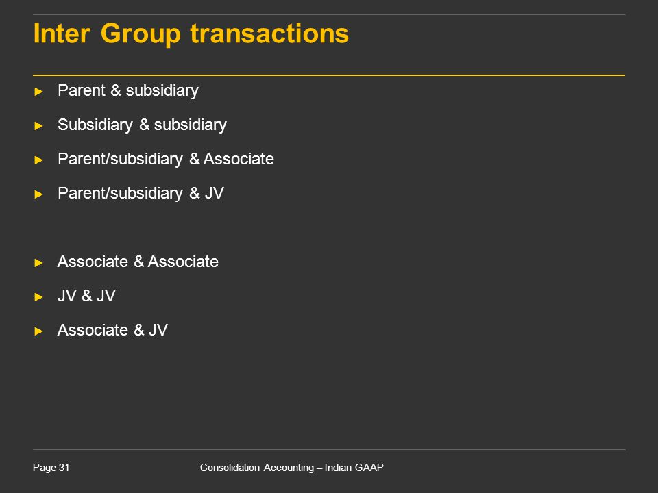 Inter Group transactions