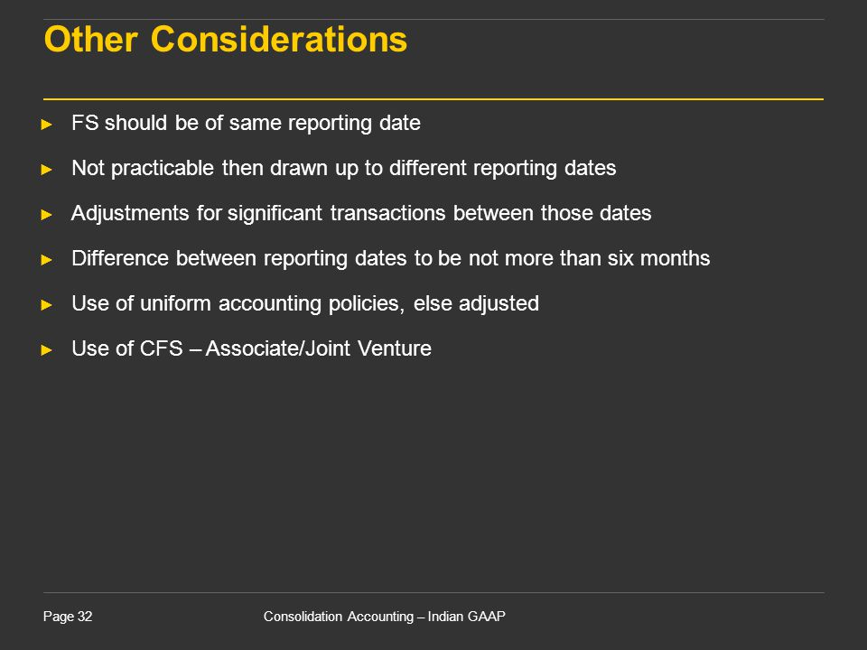 Other Considerations 15 April 2017 FS should be of same reporting date