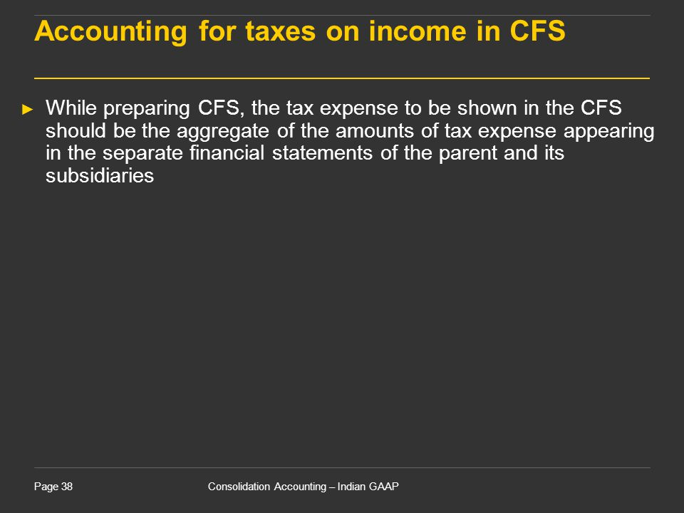 Accounting for taxes on income in CFS