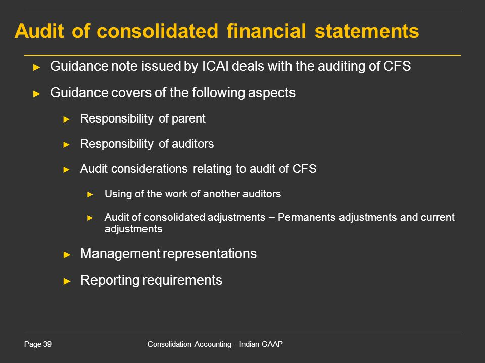 Audit of consolidated financial statements
