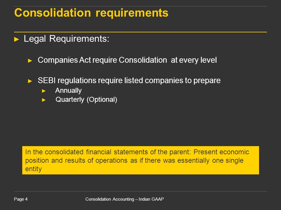 Consolidation requirements