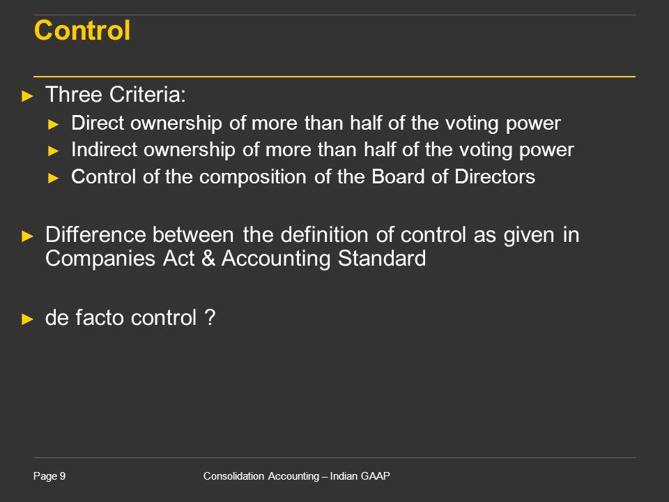 Control Three Criteria: