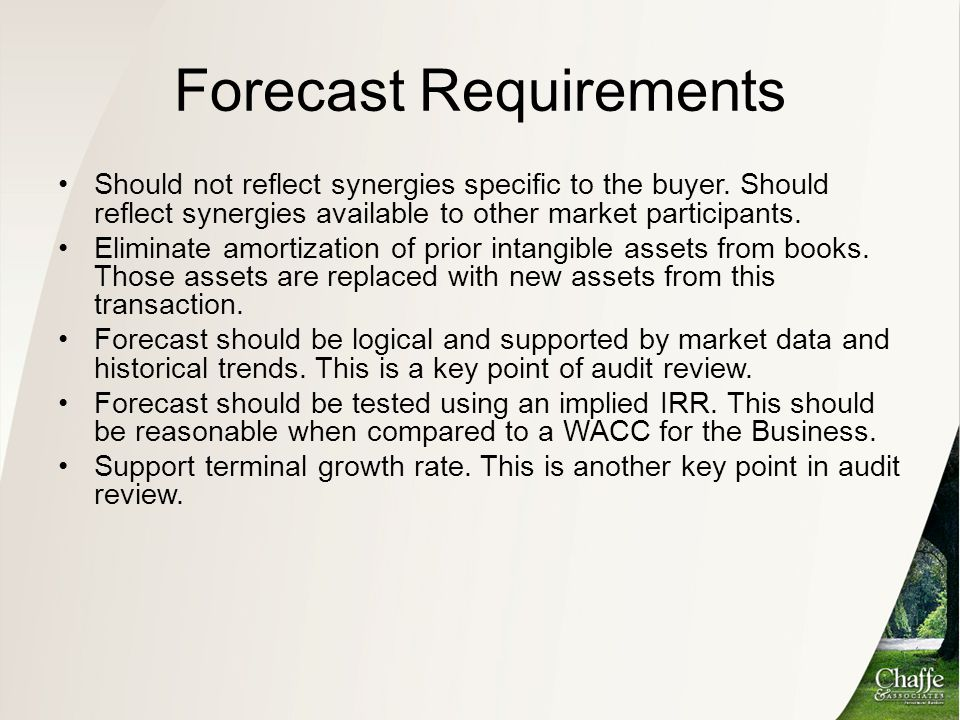 Forecast Requirements