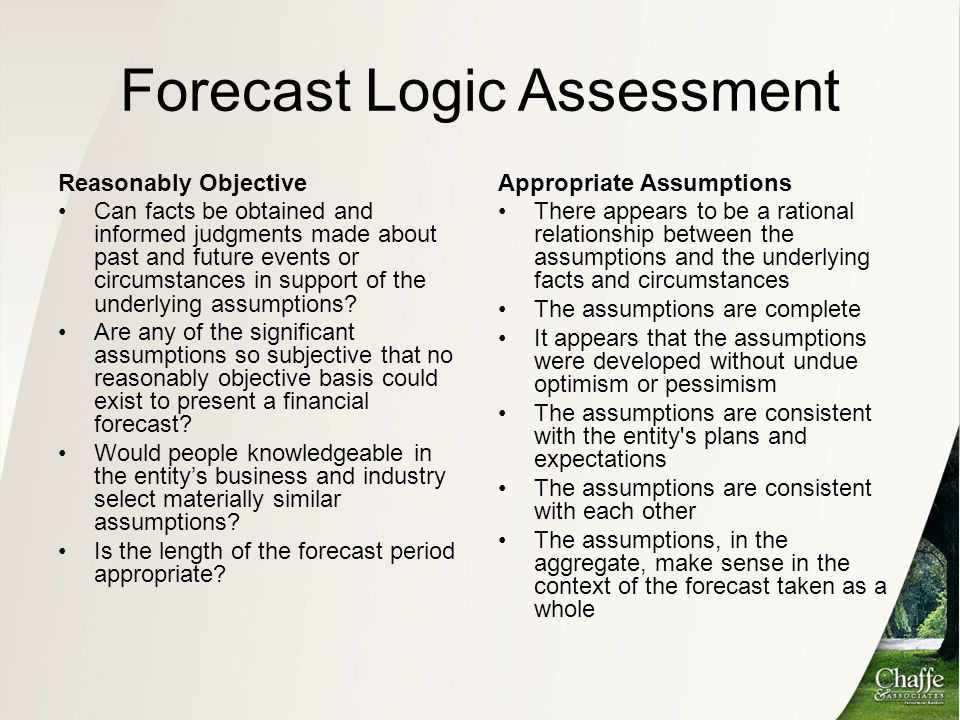 Forecast Logic Assessment