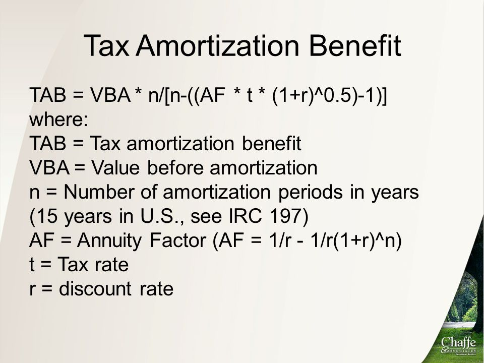 Tax Amortization Benefit