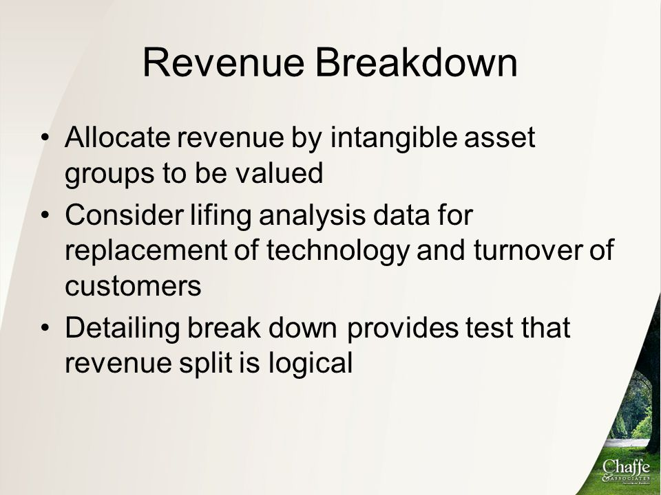 Revenue Breakdown Allocate revenue by intangible asset groups to be valued.