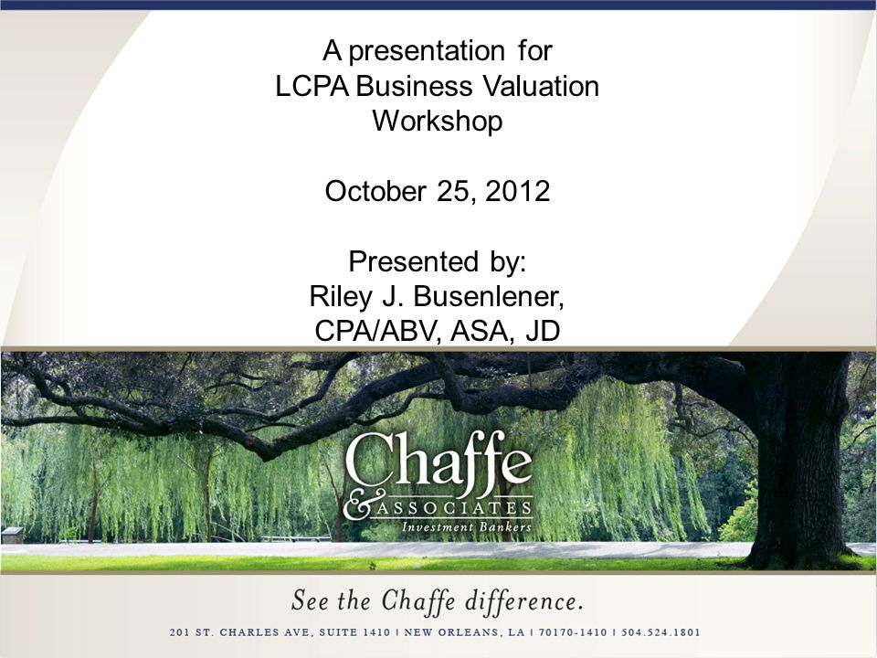 LCPA Business Valuation Workshop