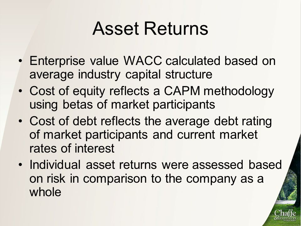Asset Returns Enterprise value WACC calculated based on average industry capital structure.