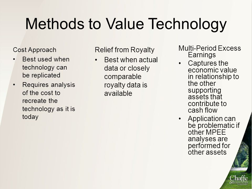 Methods to Value Technology