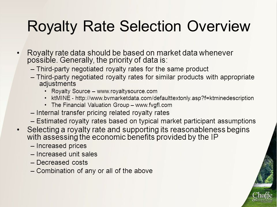 Royalty Rate Selection Overview