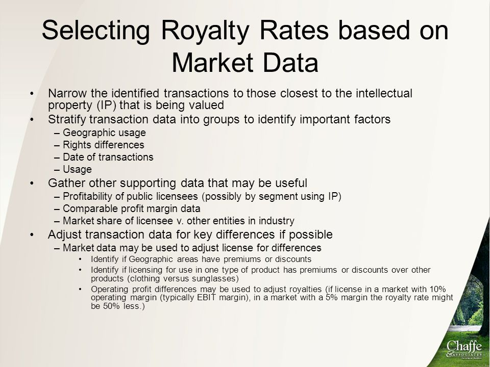 Selecting Royalty Rates based on Market Data