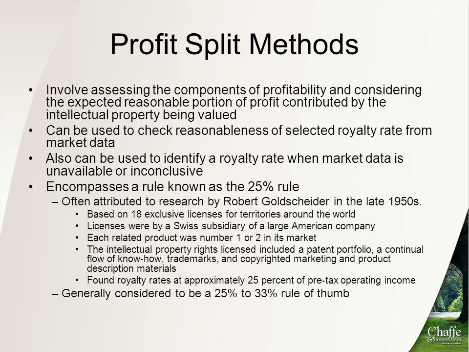 Profit Split Methods