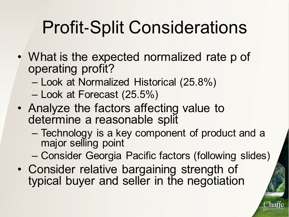 Profit‐Split Considerations