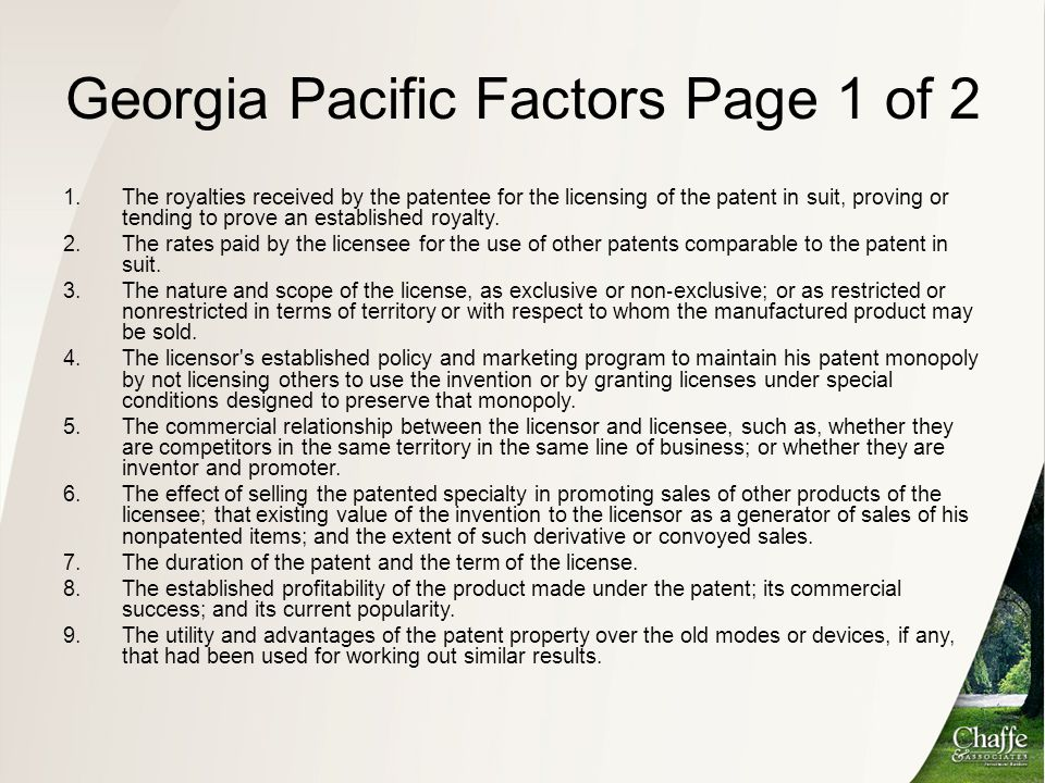 Georgia Pacific Factors Page 1 of 2