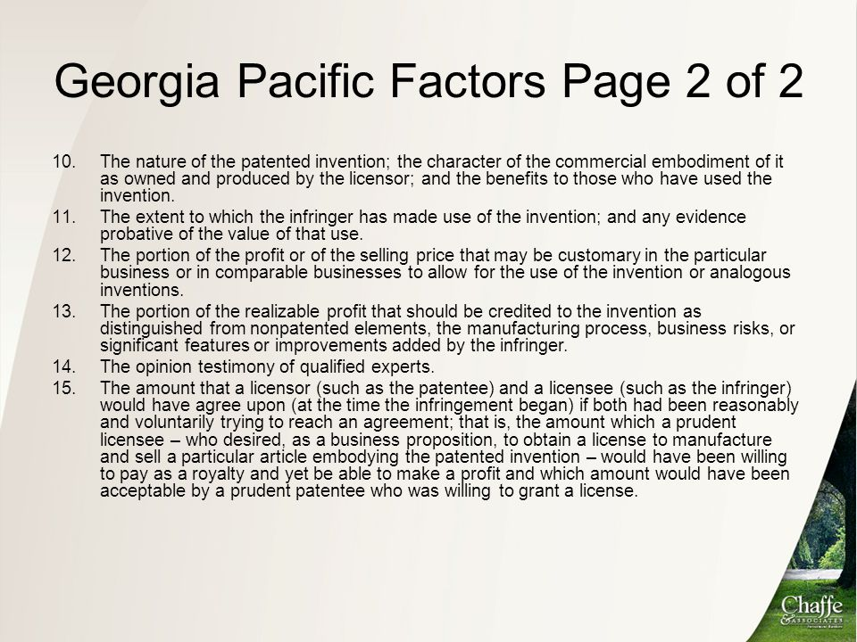 Georgia Pacific Factors Page 2 of 2