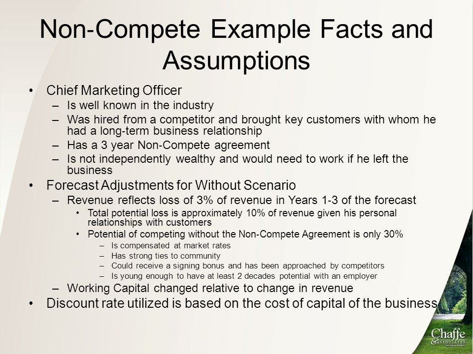 Non‐Compete Example Facts and Assumptions