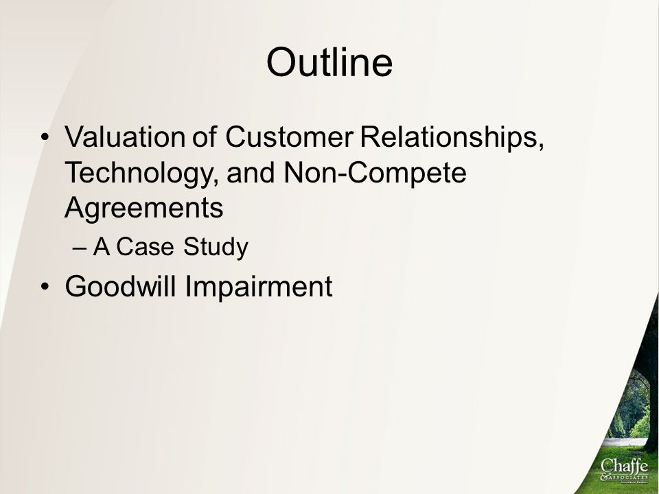 Outline Valuation of Customer Relationships, Technology, and Non-Compete Agreements. A Case Study.