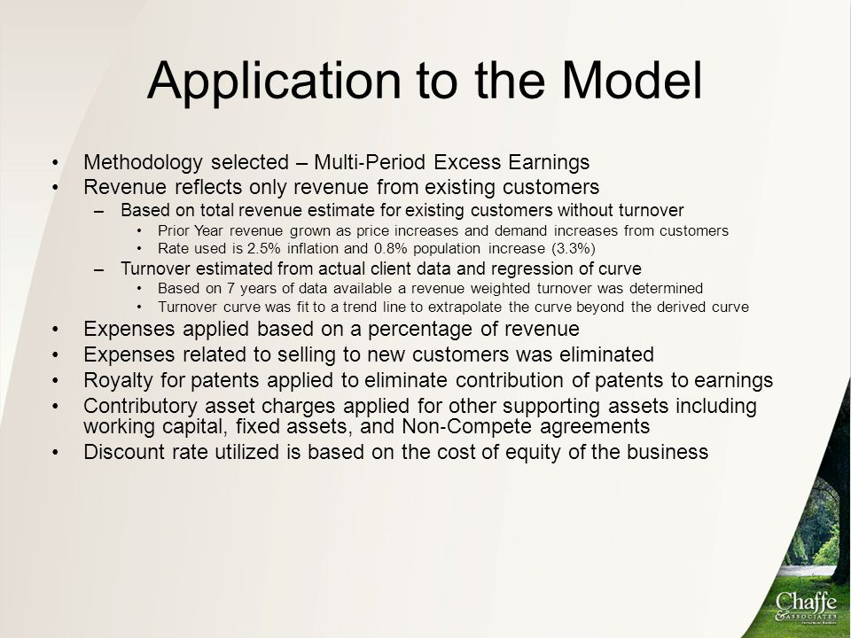 Application to the Model