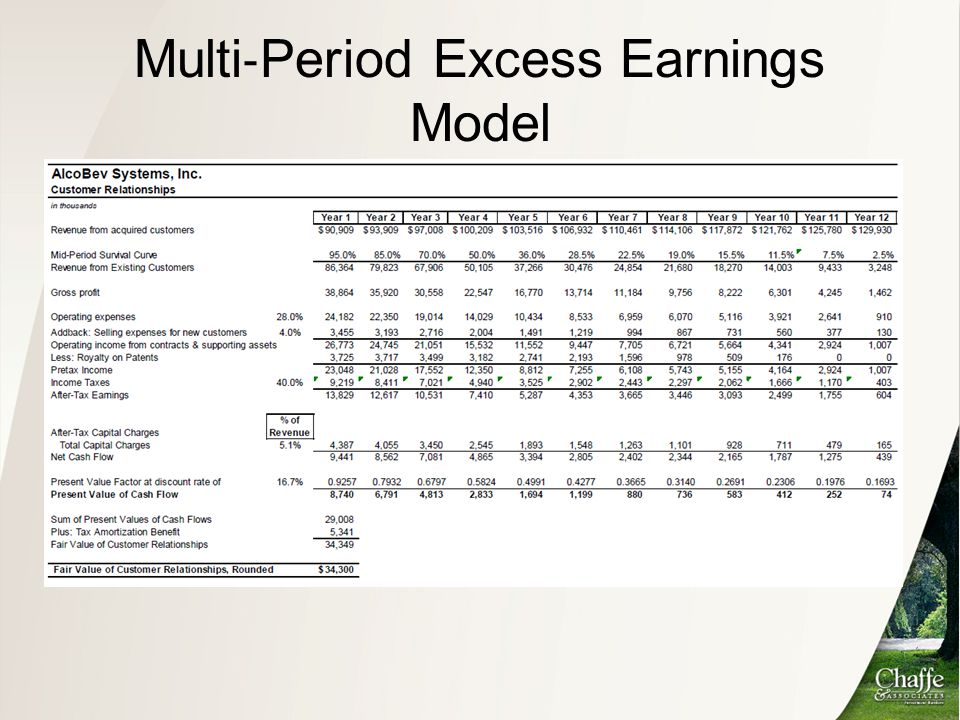 Multi‐Period Excess Earnings Model