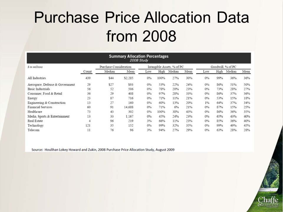 Purchase Price Allocation Data from 2008