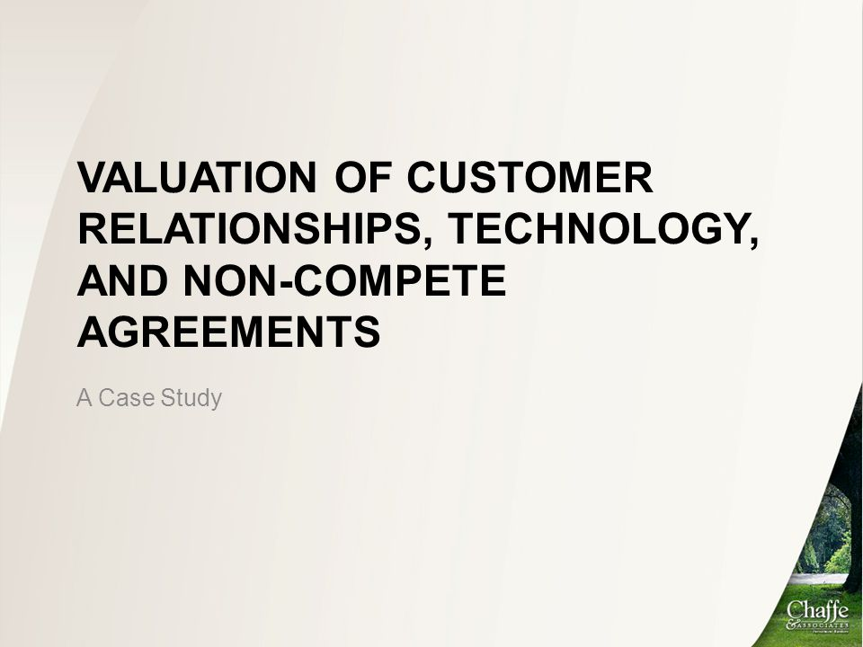 Valuation of Customer Relationships, Technology, and Non-Compete Agreements