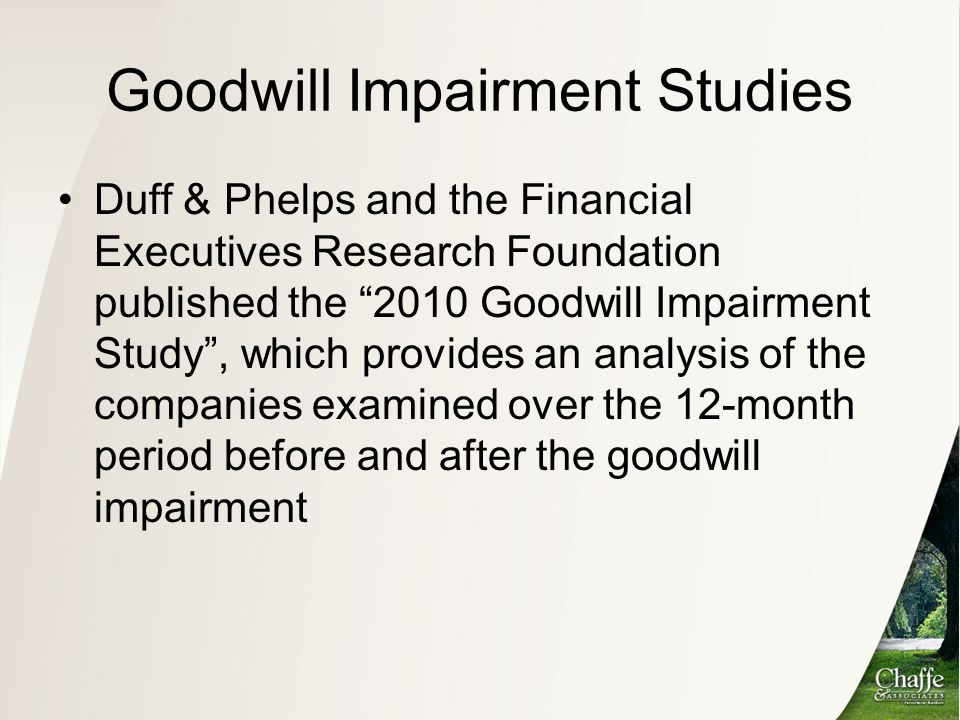 Goodwill Impairment Studies