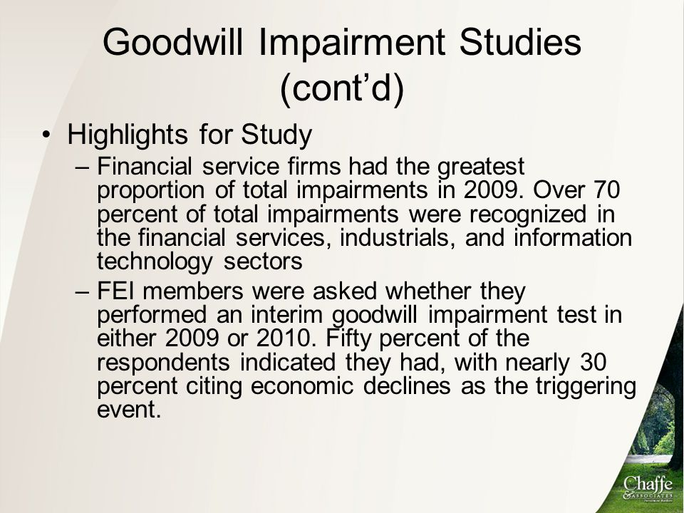 Goodwill Impairment Studies (cont'd)