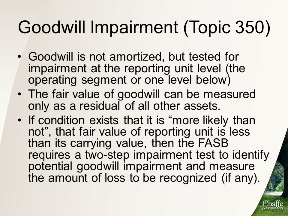 Goodwill Impairment (Topic 350)