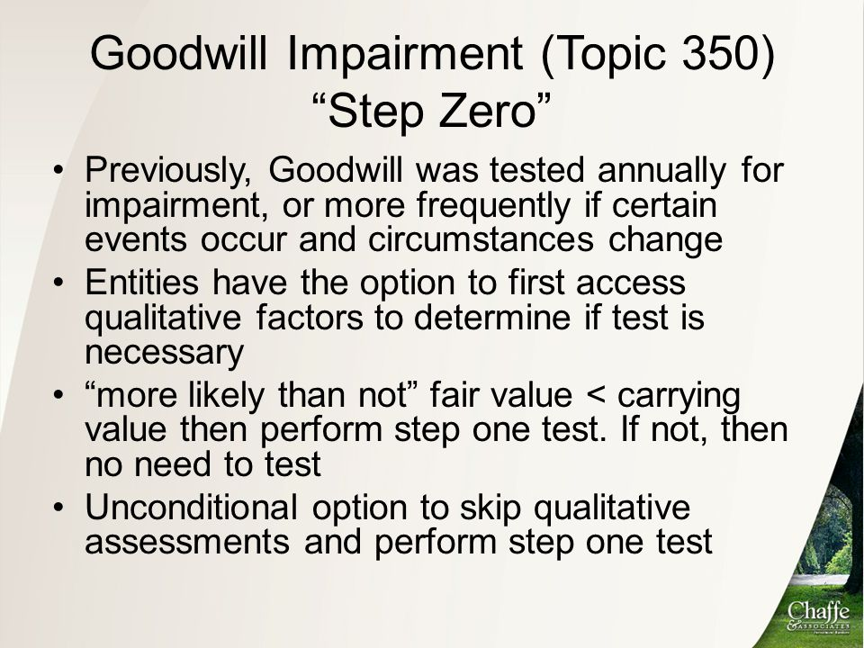 Goodwill Impairment (Topic 350) Step Zero