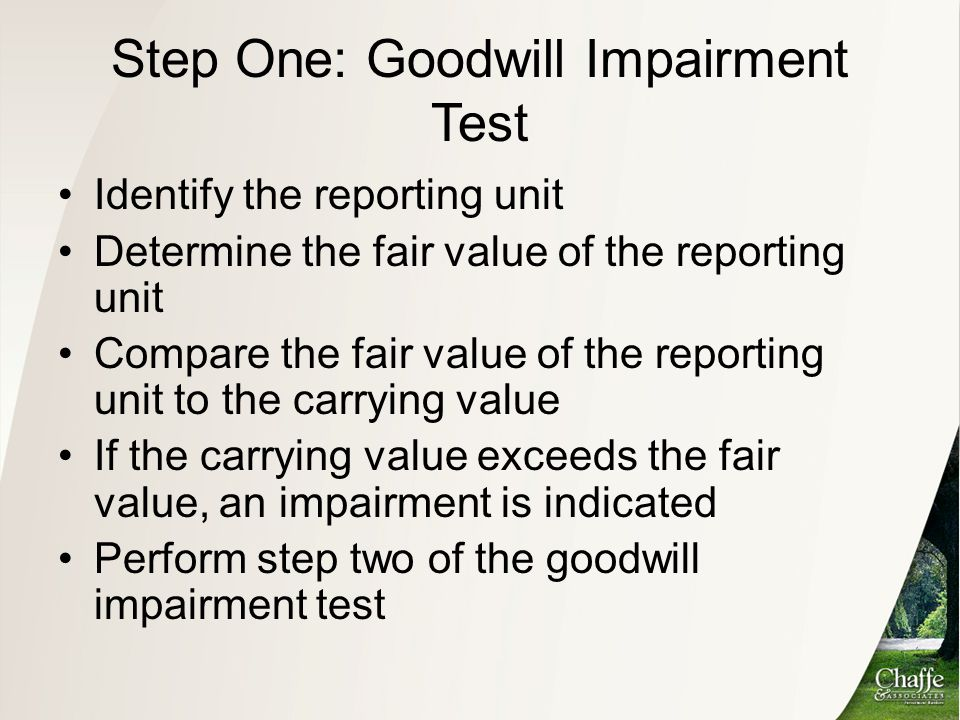 Step One: Goodwill Impairment Test