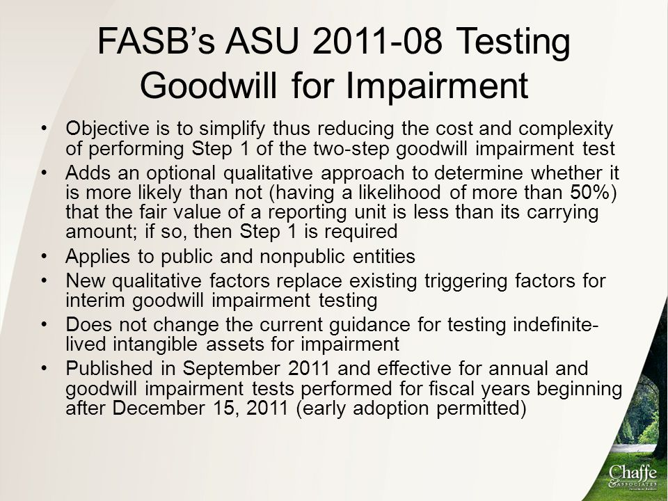 FASB's ASU 2011-08 Testing Goodwill for Impairment