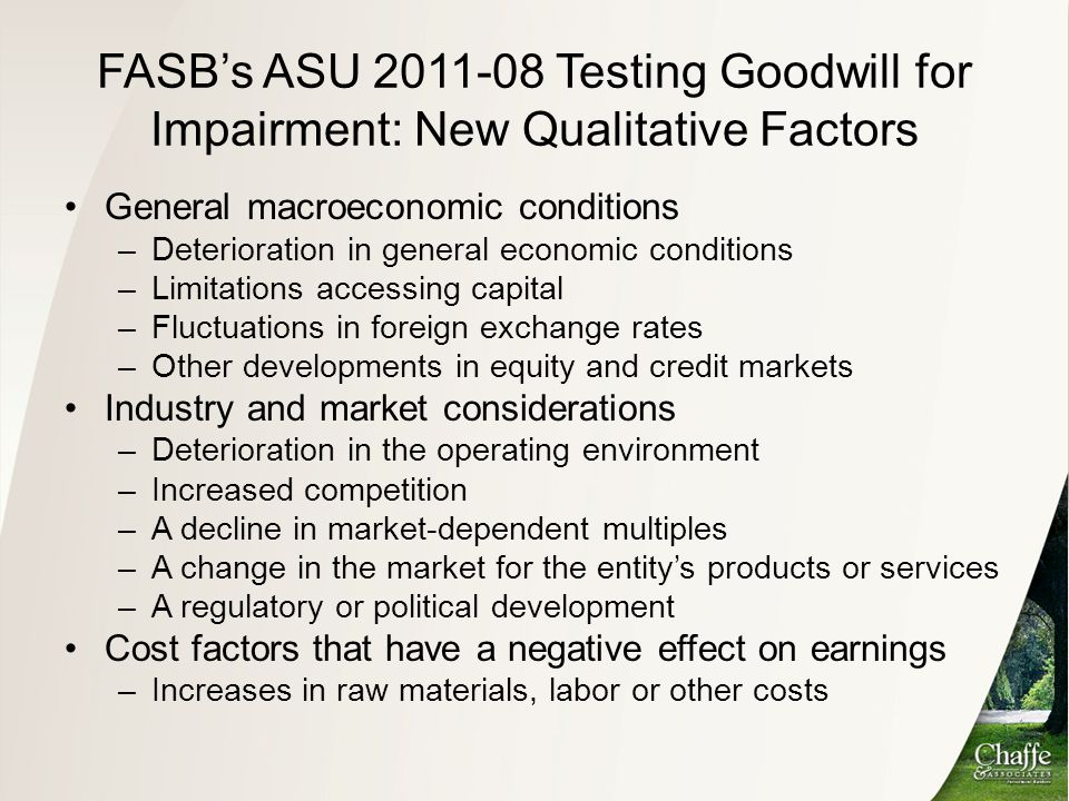 FASB's ASU 2011-08 Testing Goodwill for Impairment: New Qualitative Factors