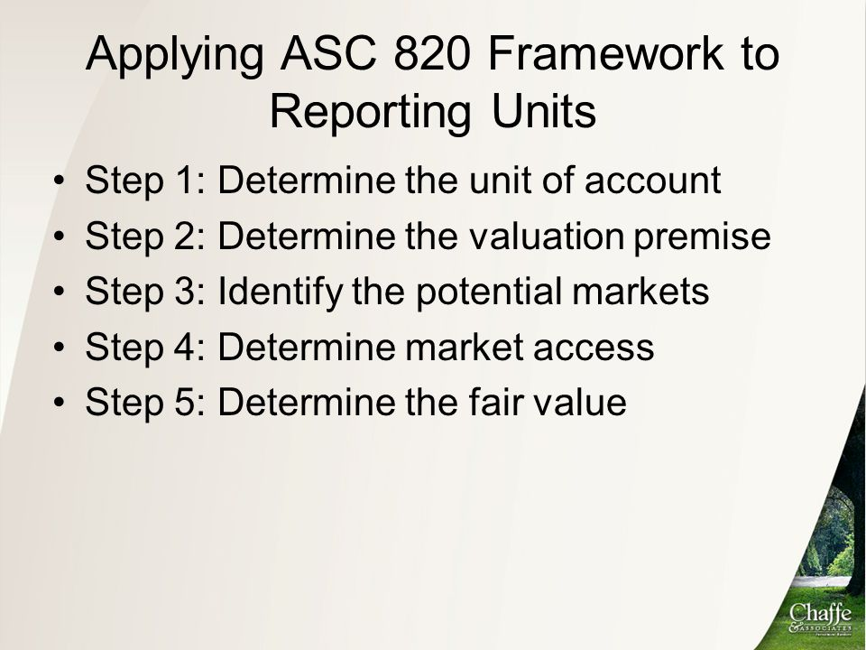 Applying ASC 820 Framework to Reporting Units