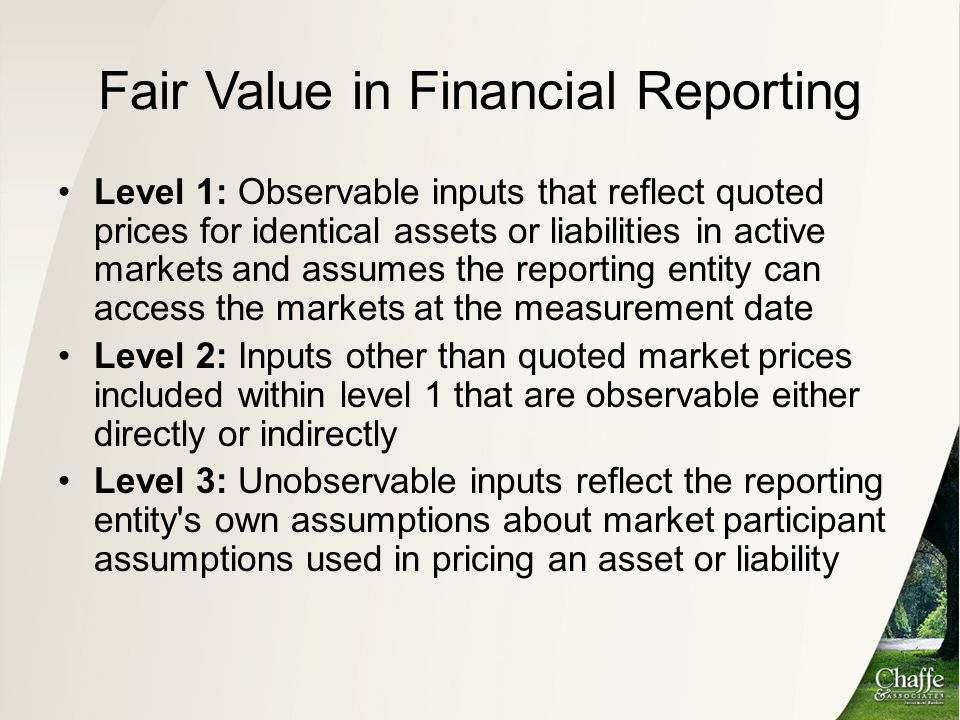 Fair Value in Financial Reporting