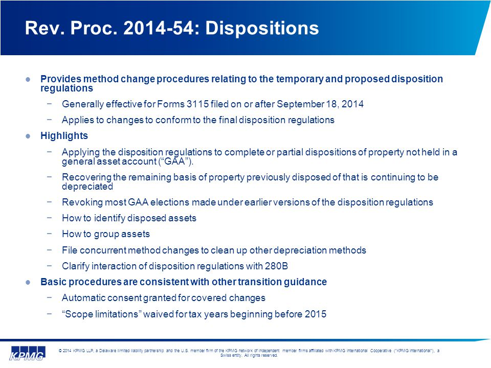 Rev. Proc. 2014-54: Dispositions