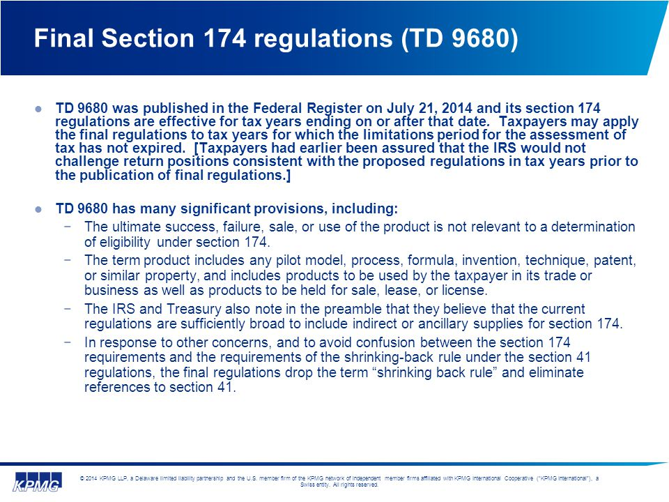 Final Section 174 regulations (TD 9680)