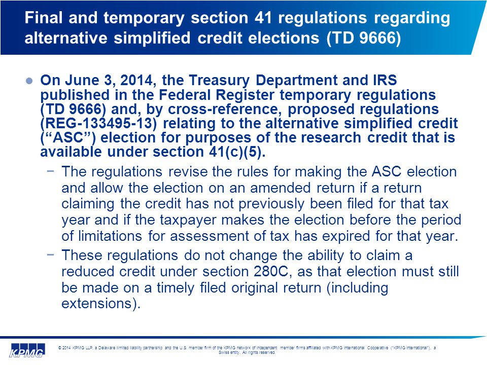 Final and temporary section 41 regulations regarding alternative simplified credit elections (TD 9666)