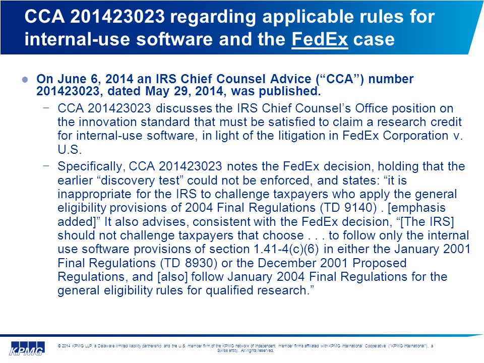CCA 201423023 regarding applicable rules for internal-use software and the FedEx case