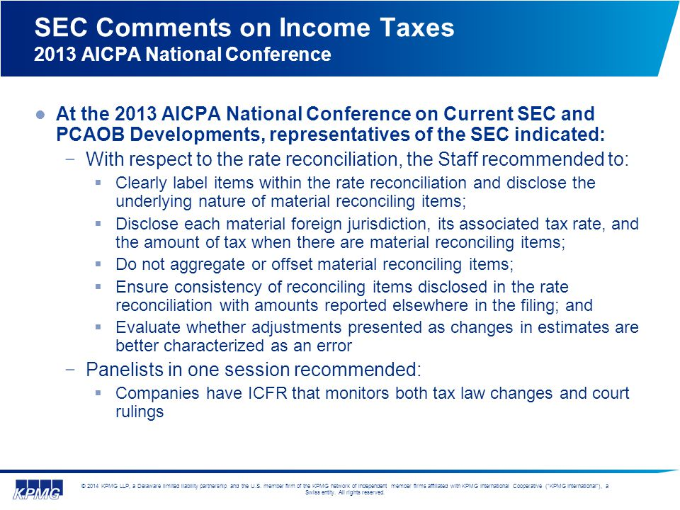 SEC Comments on Income Taxes 2013 AICPA National Conference