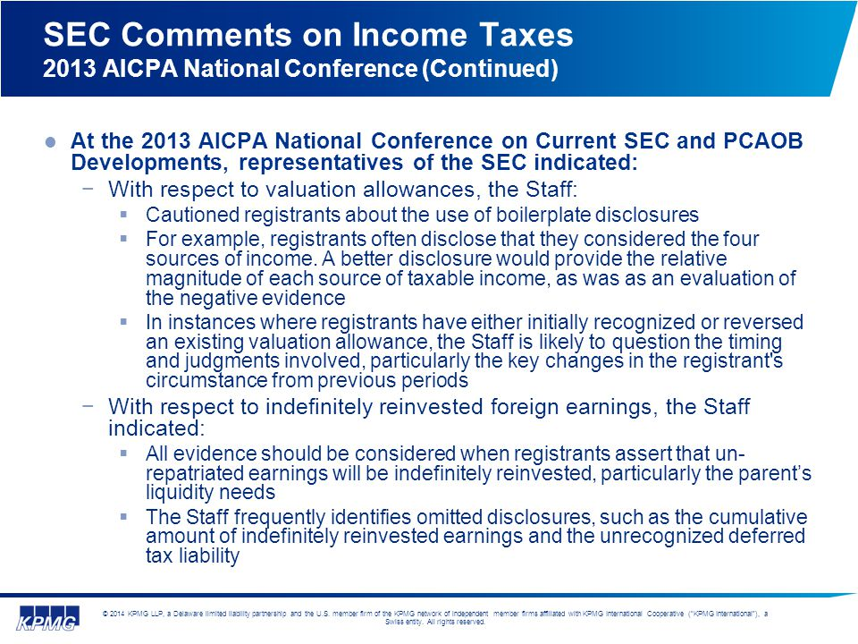 SEC Comments on Income Taxes 2013 AICPA National Conference (Continued)