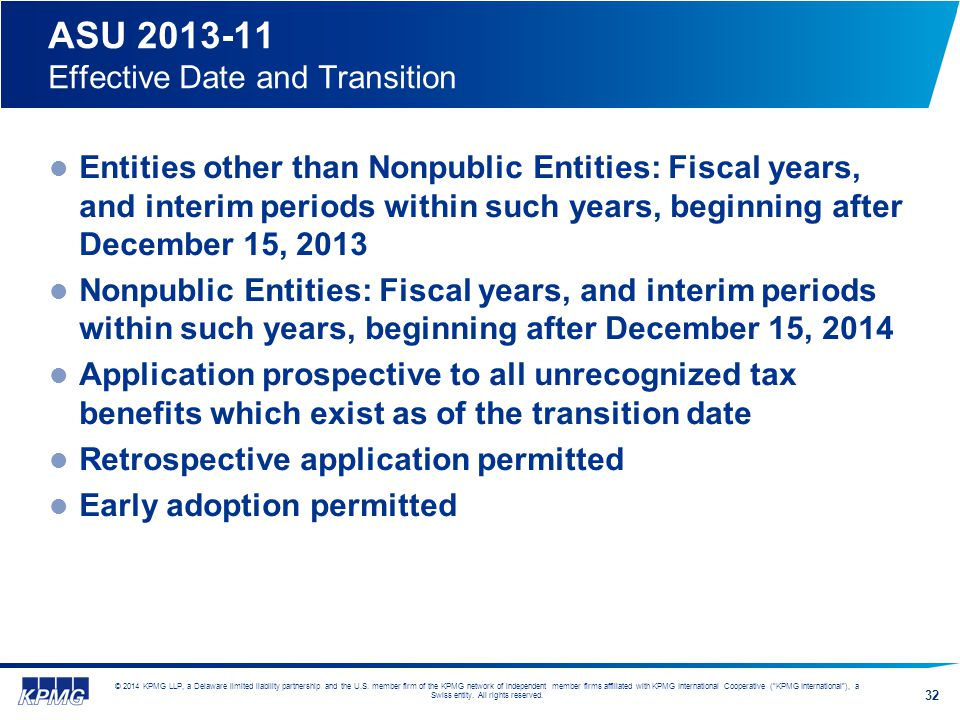 ASU 2013-11 Effective Date and Transition