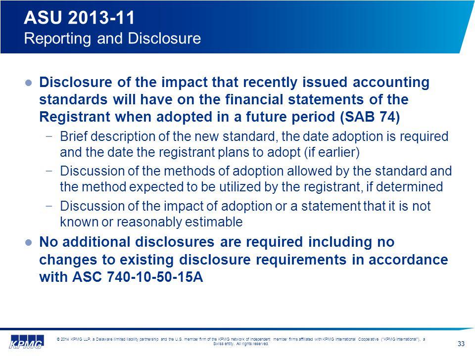 ASU 2013-11 Reporting and Disclosure